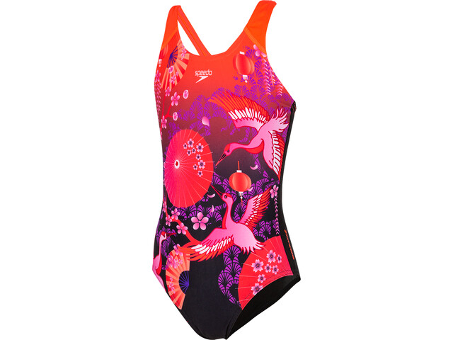 speedo Crane Blossom Placement Digital Swimsuit Girls black/purple
